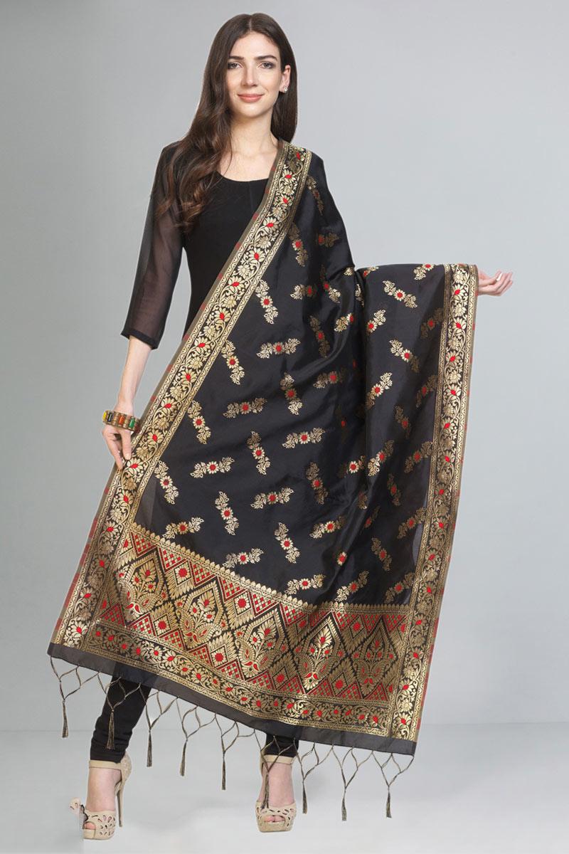 Art Silk Fabric Fancy Black Color Dupatta For Function Wear