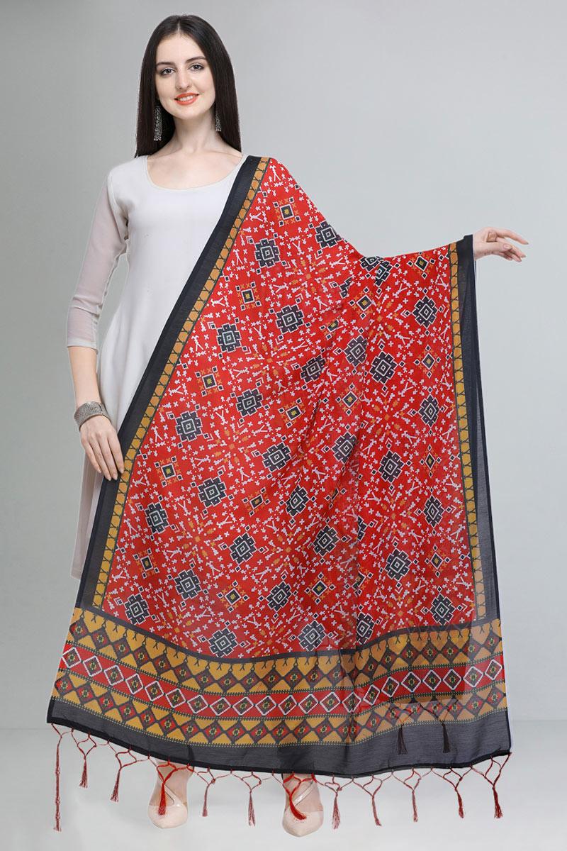 Red Color Embellished Designer Printed Dupatta