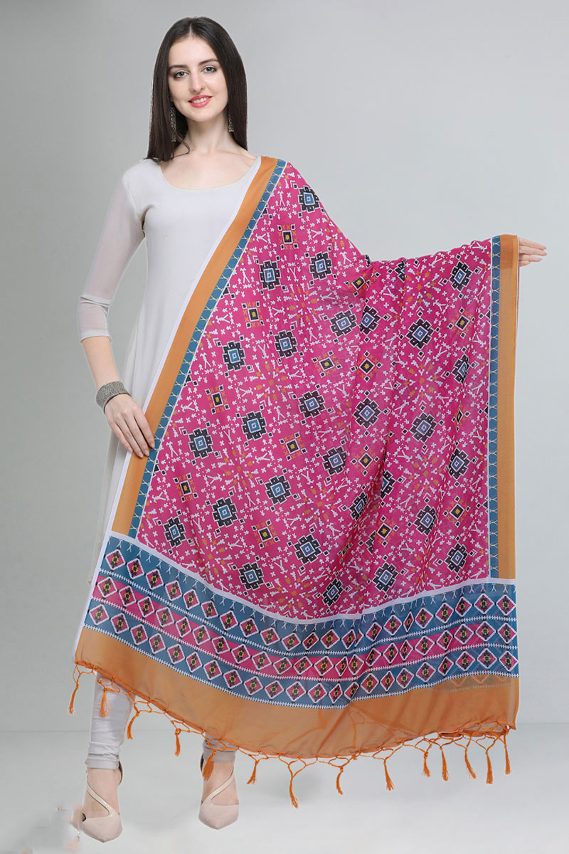 Printed Pink Color Fancy Cotton Fabric Dupatta