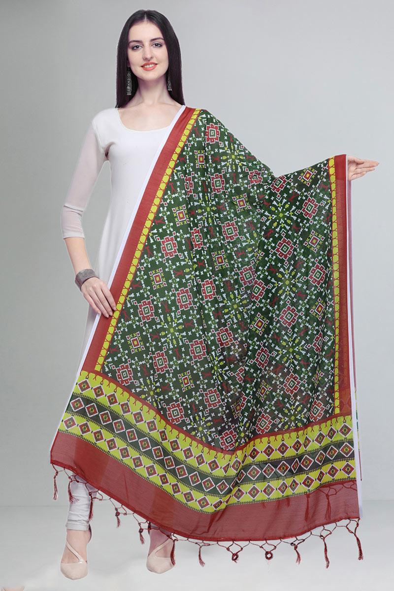 Designer Printed Cotton Fabric Dupatta In Dark Green Color