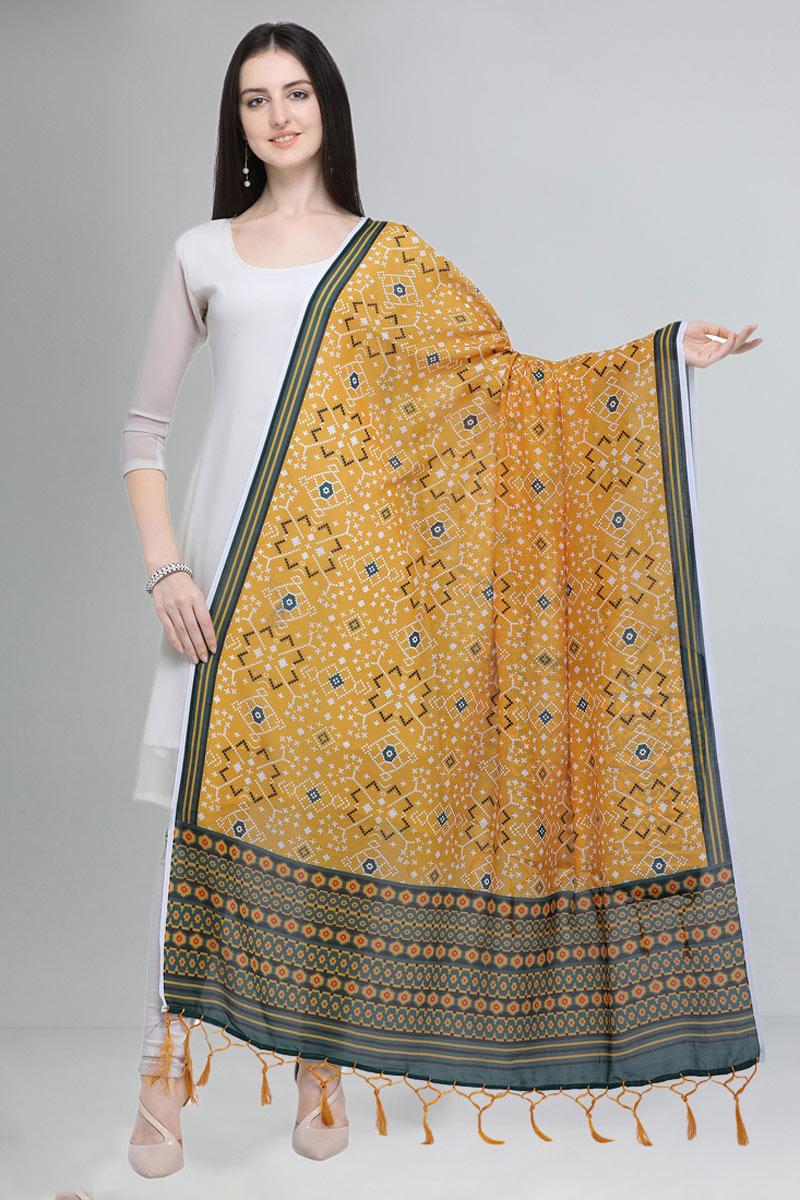 Designer Embellished Yellow Color Printed Dupatta