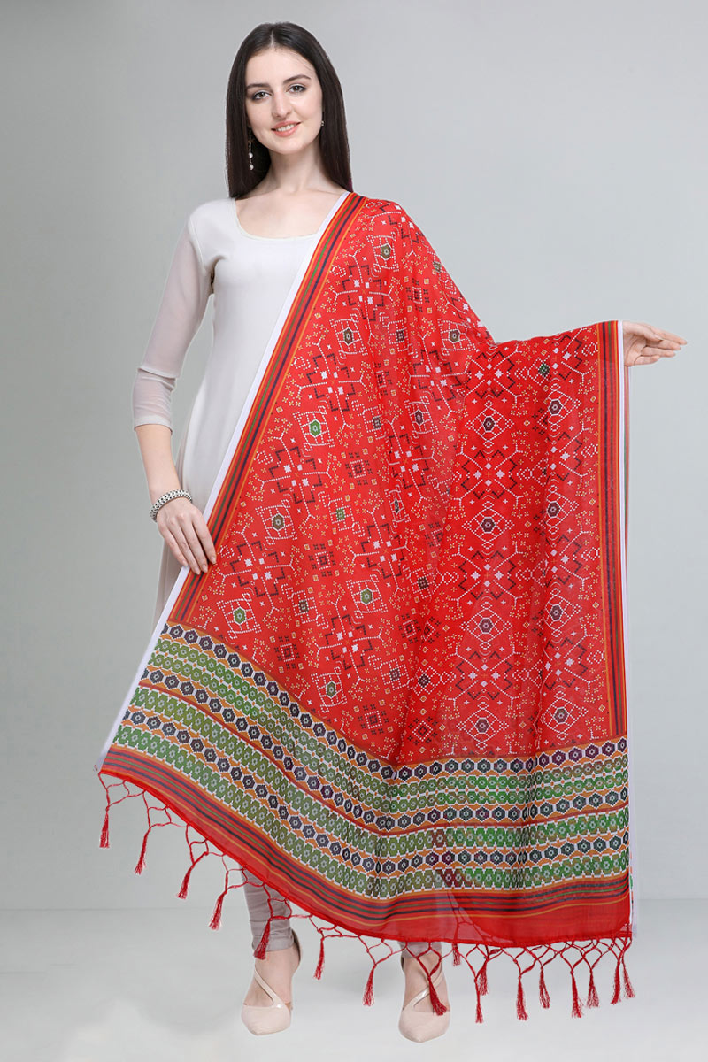 Red Color Fancy Printed Cotton Fabric Dupatta