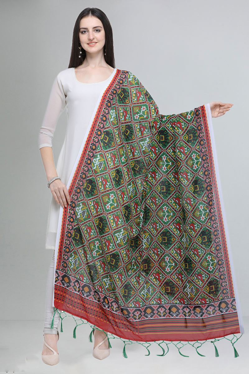 Fancy Printed Cotton Fabric Dupatta In Green Color