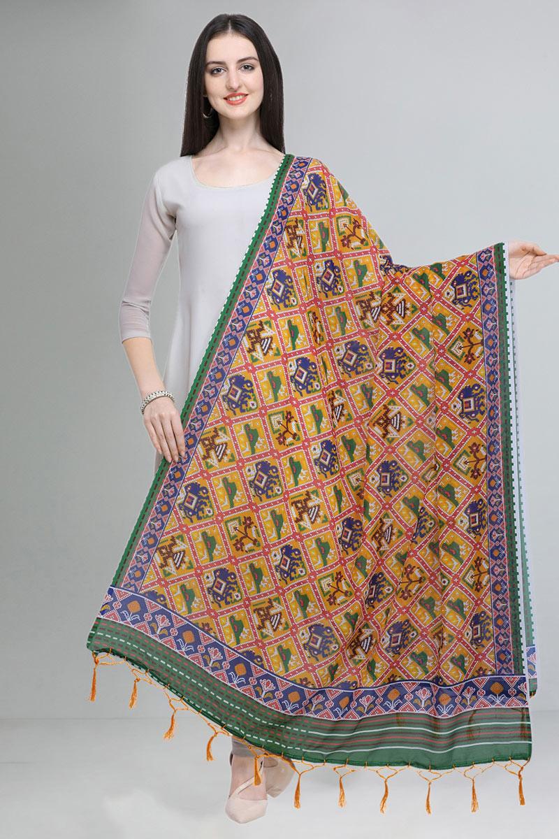 Yellow Color Embellished Designer Printed Dupatta