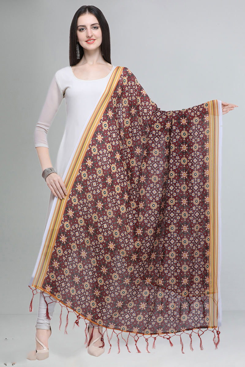Printed Maroon Color Fancy Cotton Fabric Dupatta