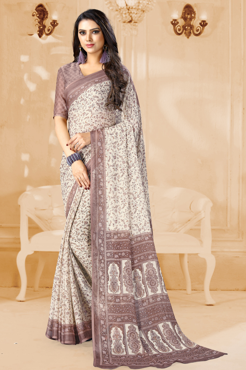 Beige Color Printed Daily Wear Chiffon Fabric Uniform Saree With Blouse
