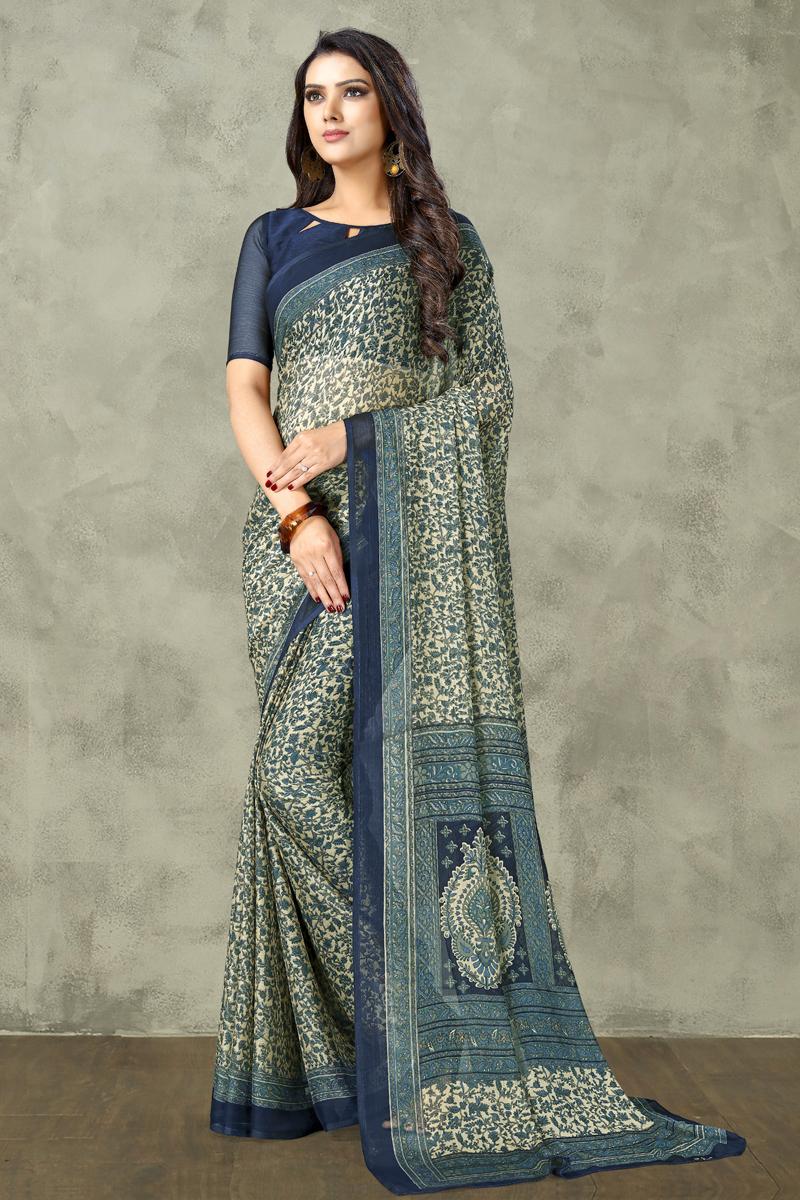Chiffon Fabric Regular Wear Beige Color Printed Uniform Saree