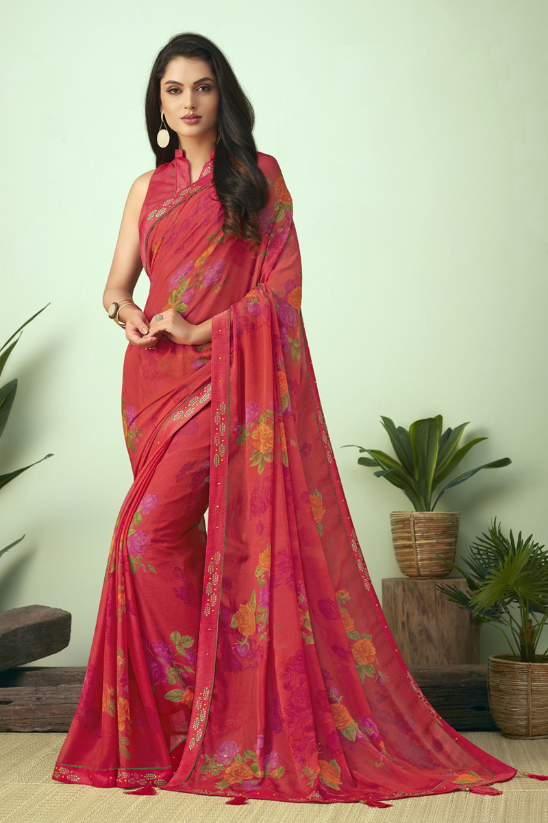 Pink Color Puja Wear Printed Uniform Saree In Chiffon Fabric
