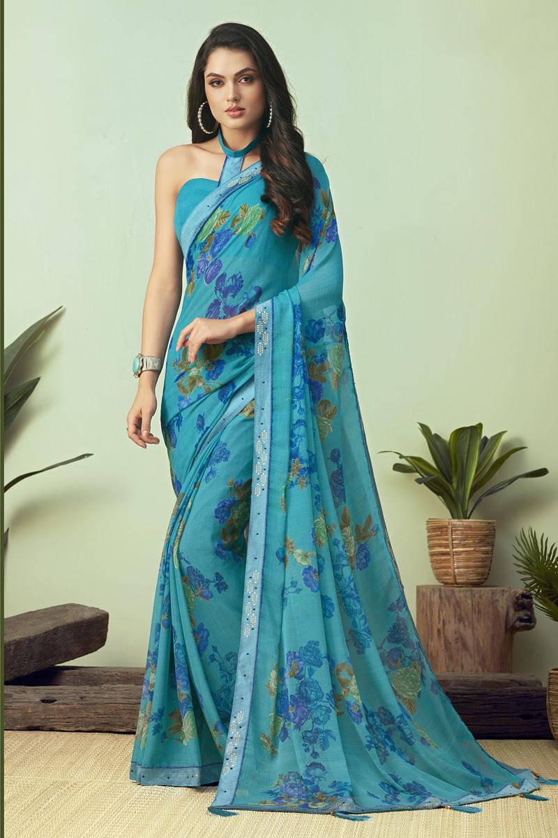 Cyan Color Casual Wear Printed Uniform Saree In Chiffon Fabric