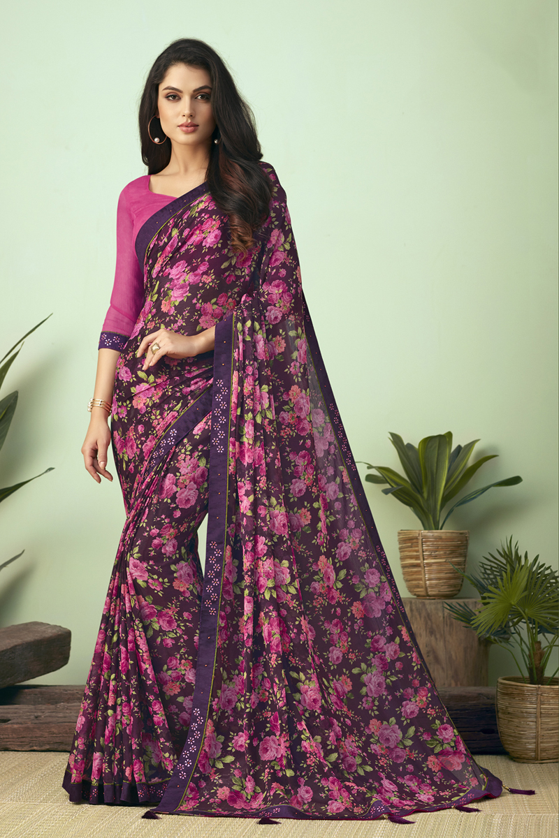 Fancy Chiffon Fabric Purple Color Daily Wear Printed Uniform Saree