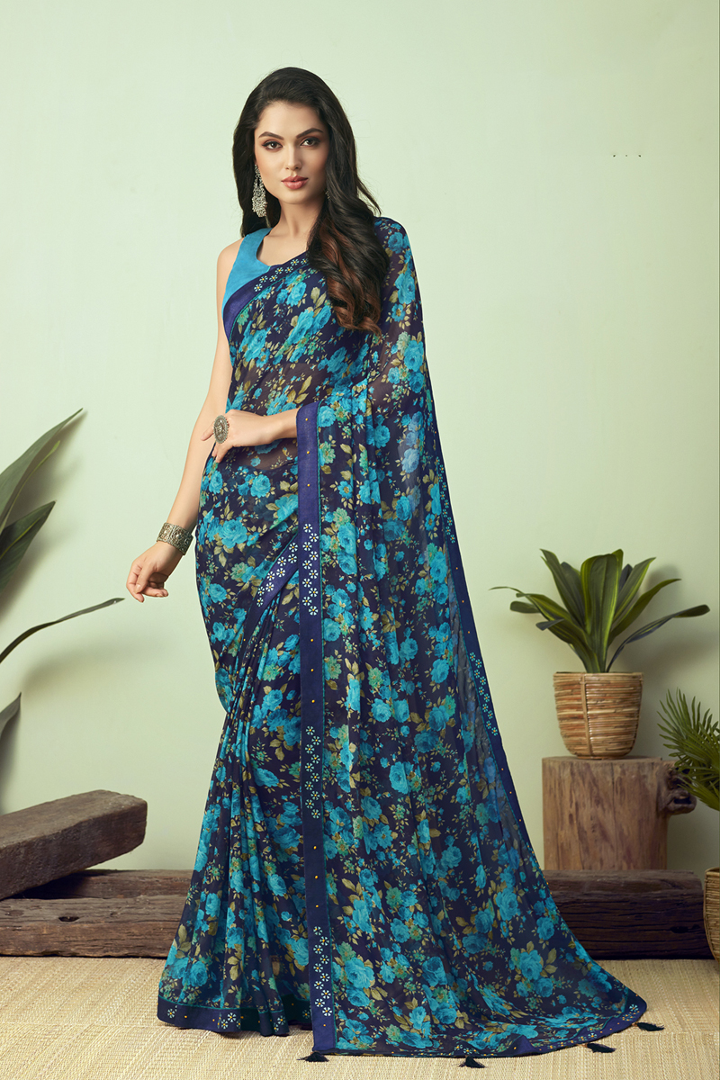 Casual Wear Fancy Printed Uniform Saree In Chiffon Fabric Navy Blue Color