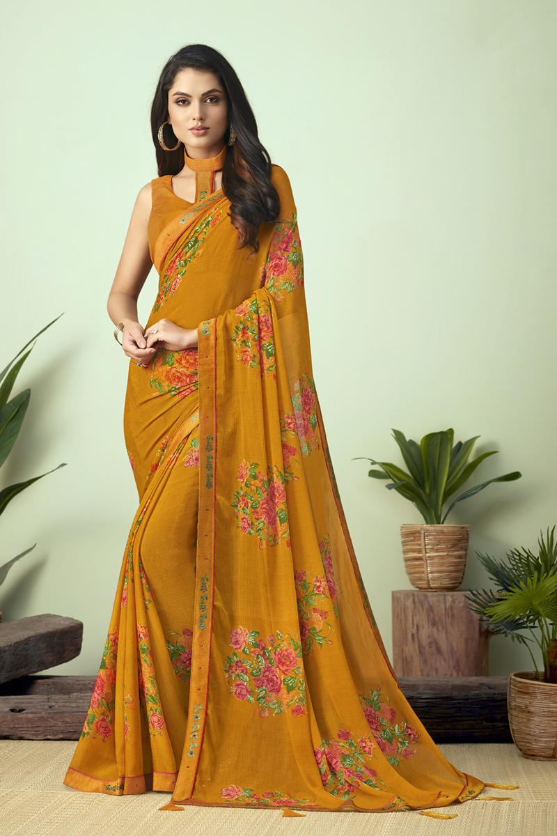 Chiffon Fabric Orange Color Daily Wear Fancy Printed Uniform Saree
