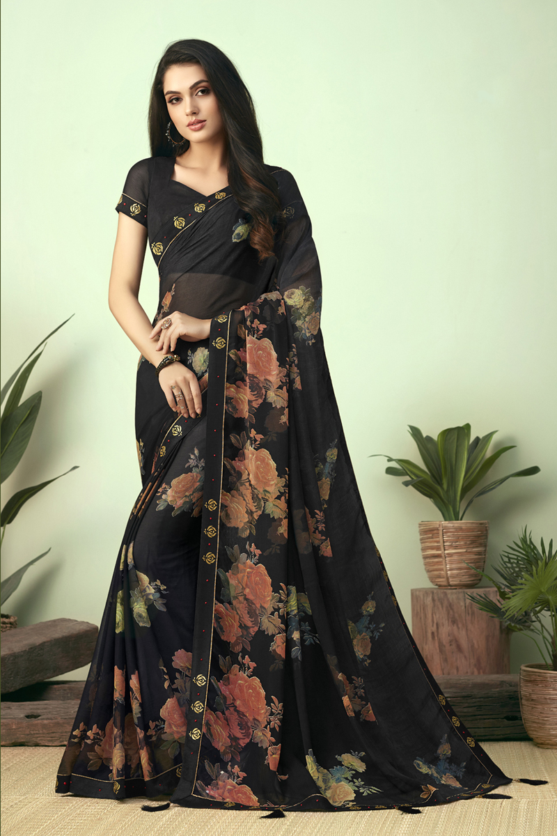 Printed Chiffon Fabric Office Wear Black Color Uniform Saree