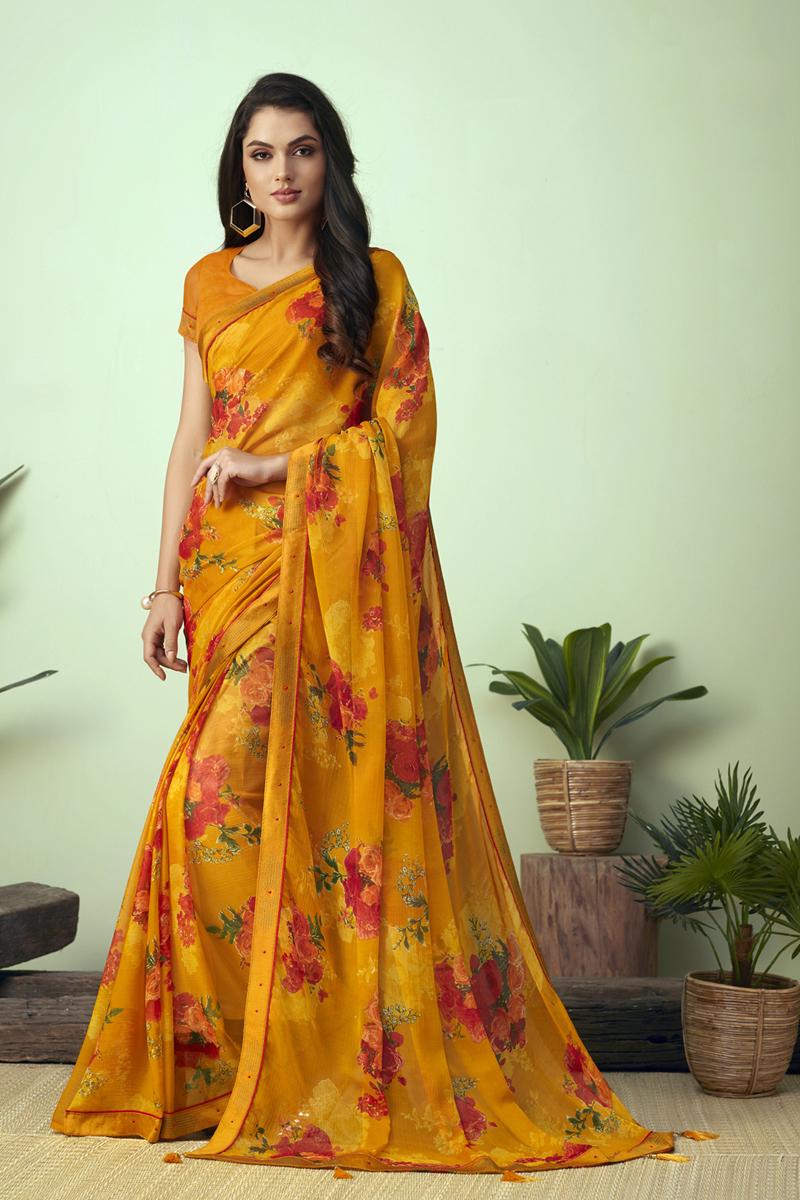 Casual Wear Fancy Printed Uniform Saree In Chiffon Fabric Mustard Color