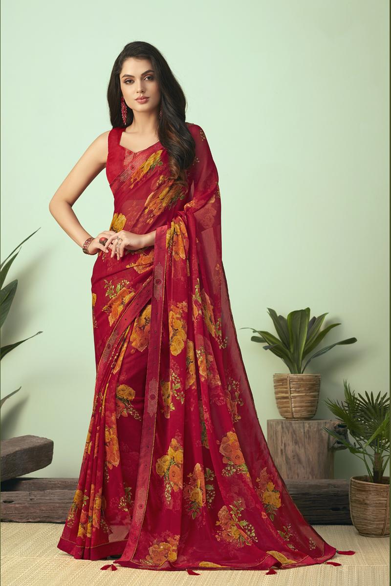 Red Color Regular Wear Chiffon Fabric Printed Uniform Saree