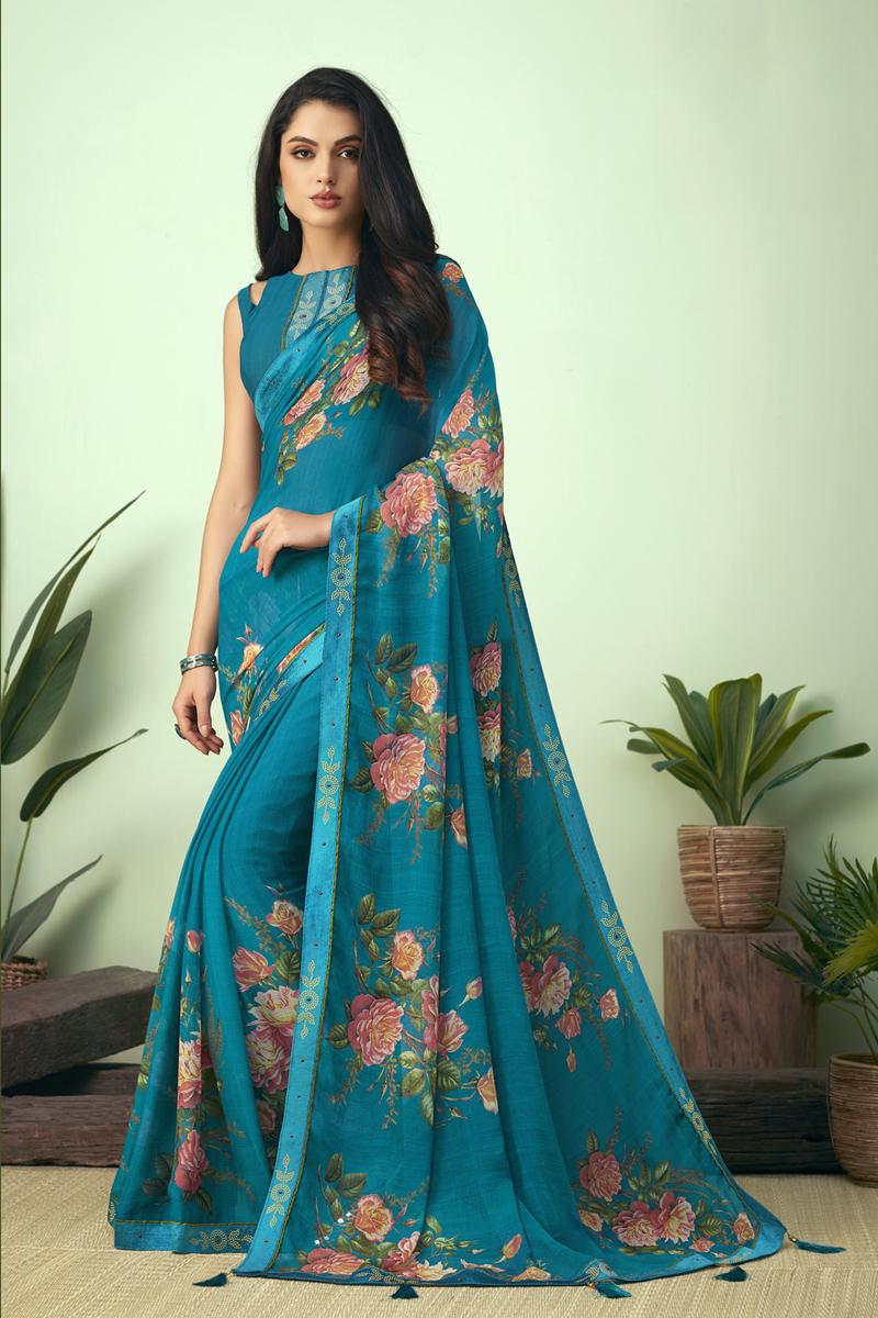Chiffon Fabric Regular Wear Cyan Color Printed Uniform Saree