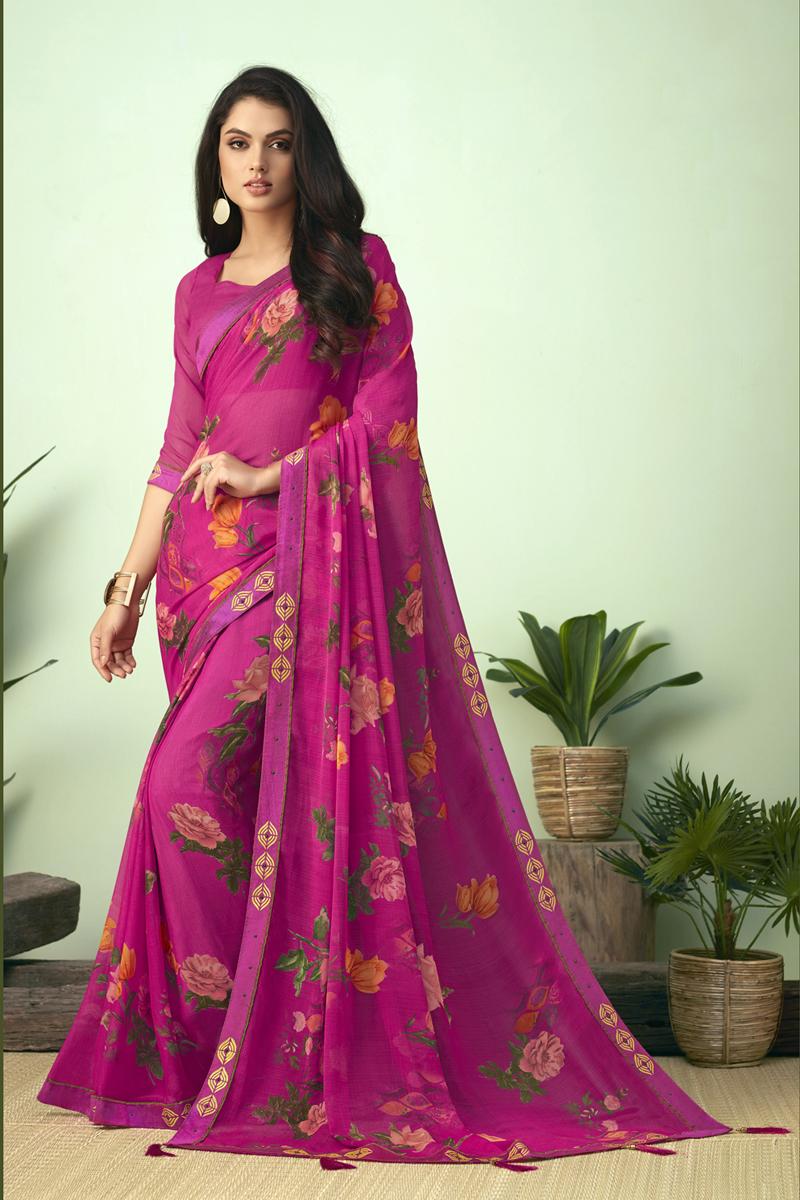Chiffon Fabric Daily Wear Printed Uniform Saree In Rani Color