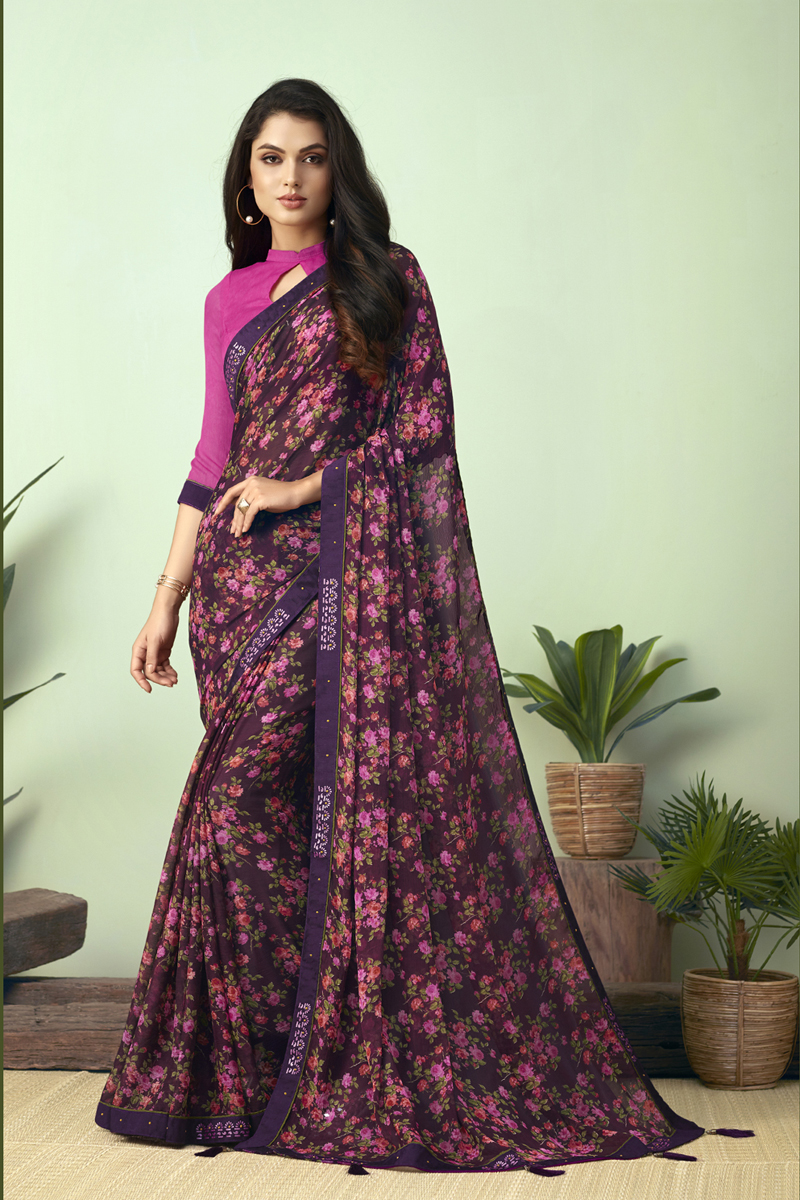 Chiffon Fabric Regular Wear Purple Color Printed Uniform Saree