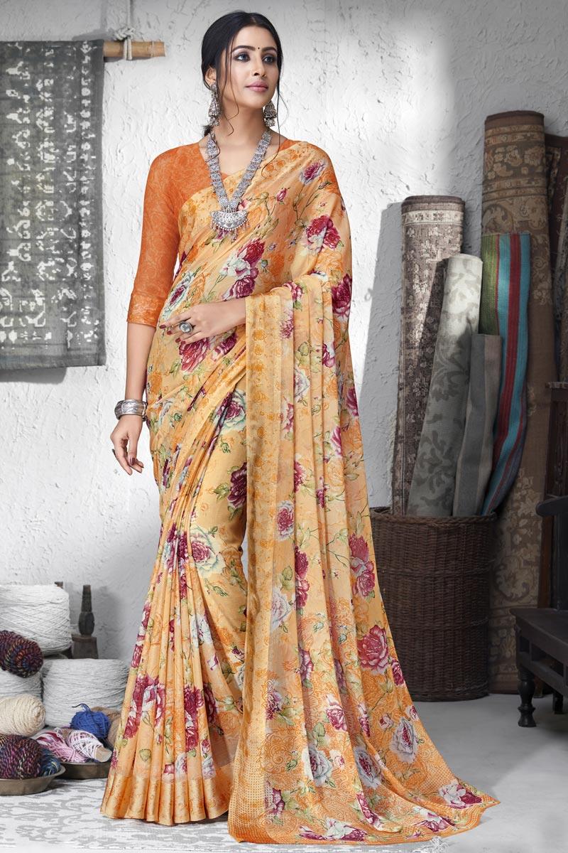 Fancy Chiffon Fabric Peach Color Printed Daily Wear Saree
