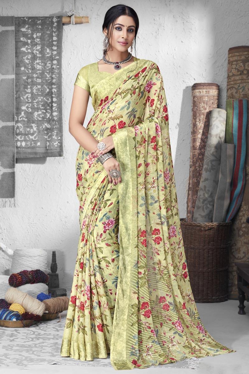 Fancy Chiffon Fabric Khaki Color Daily Wear Simple Printed Saree