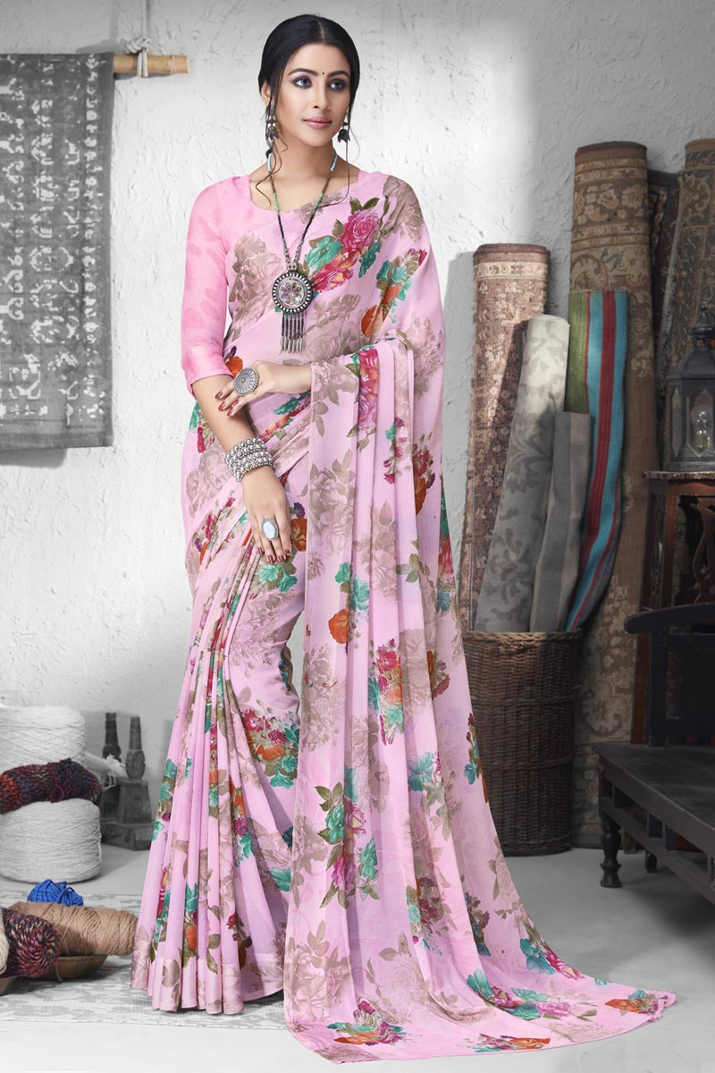 Chiffon Fabric Office Wear Pink Color Printed Saree