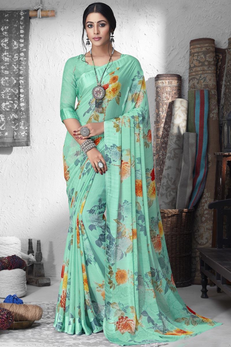 Chiffon Fabric Sea Green Color Regular Wear Printed Saree