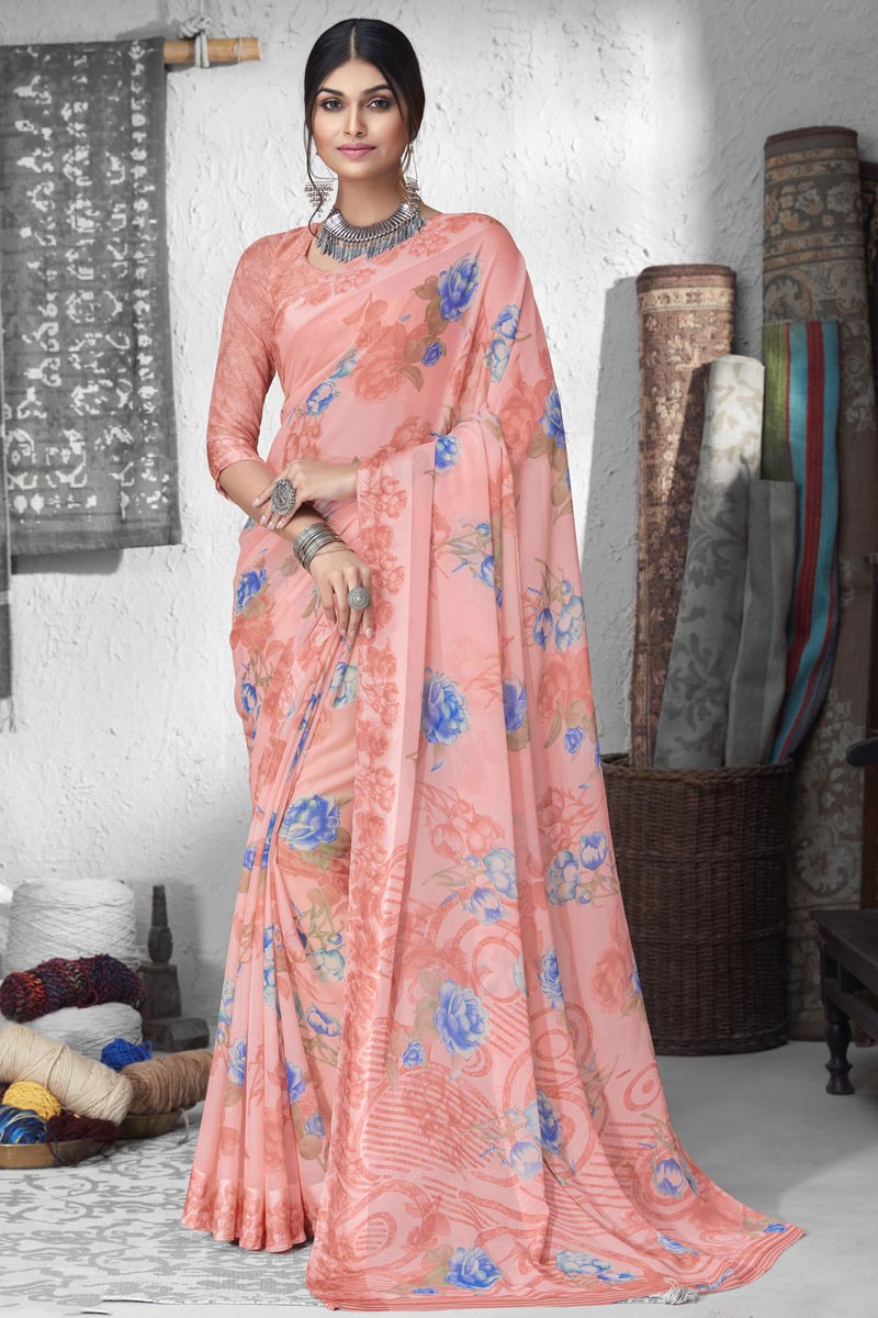 Casual Wear Fancy Printed Saree In Chiffon Fabric Pink Color