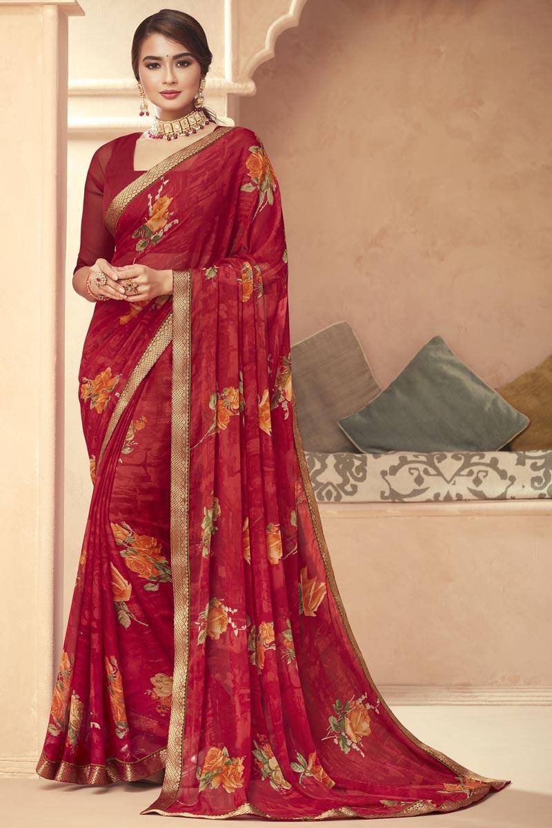 Maroon Color Chiffon Fabric Floral Print Daily Wear Saree