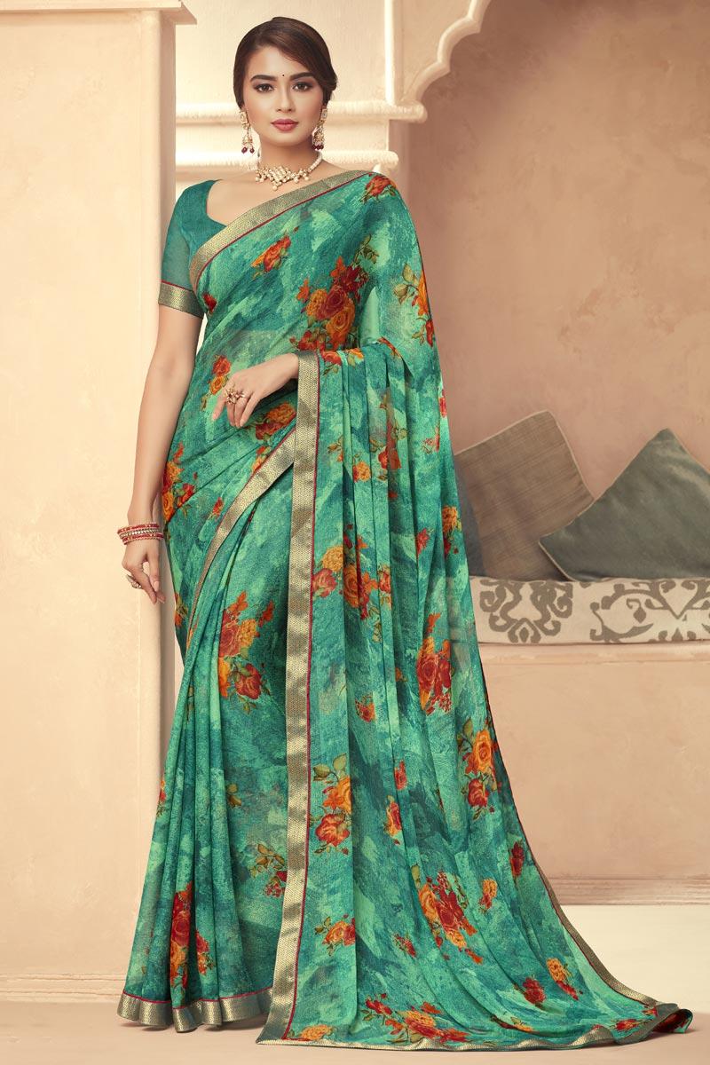 Chiffon Fabric Daily Wear Floral Print Sea Green Color Saree