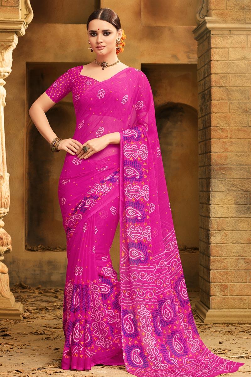 Chiffon Fabric Rani Fancy Traditional Bandhani Print Saree