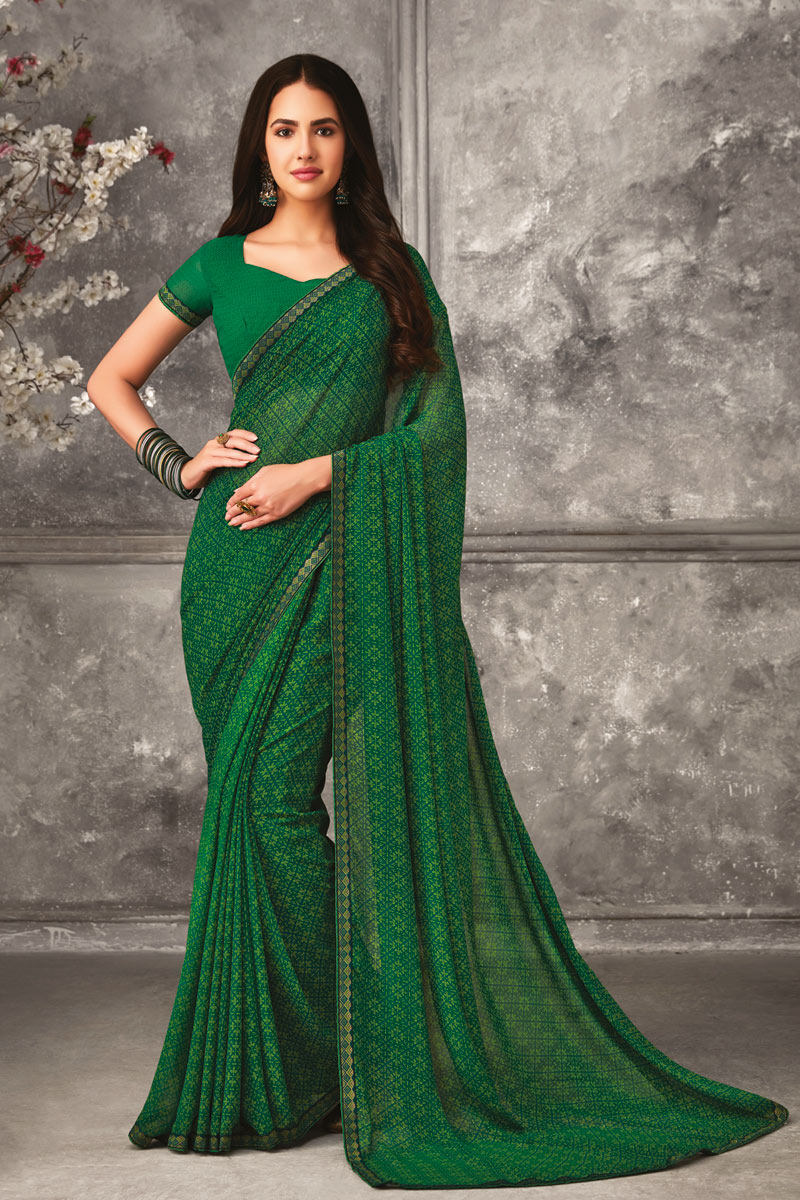 Green Color Casual Wear Printed Uniform Saree In Georgette Fabric