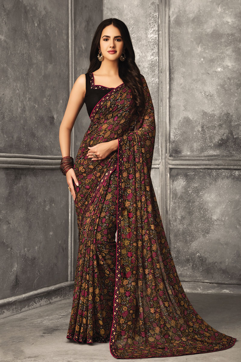 Georgette Fabric Brown Color Daily Wear Fancy Printed Uniform Saree