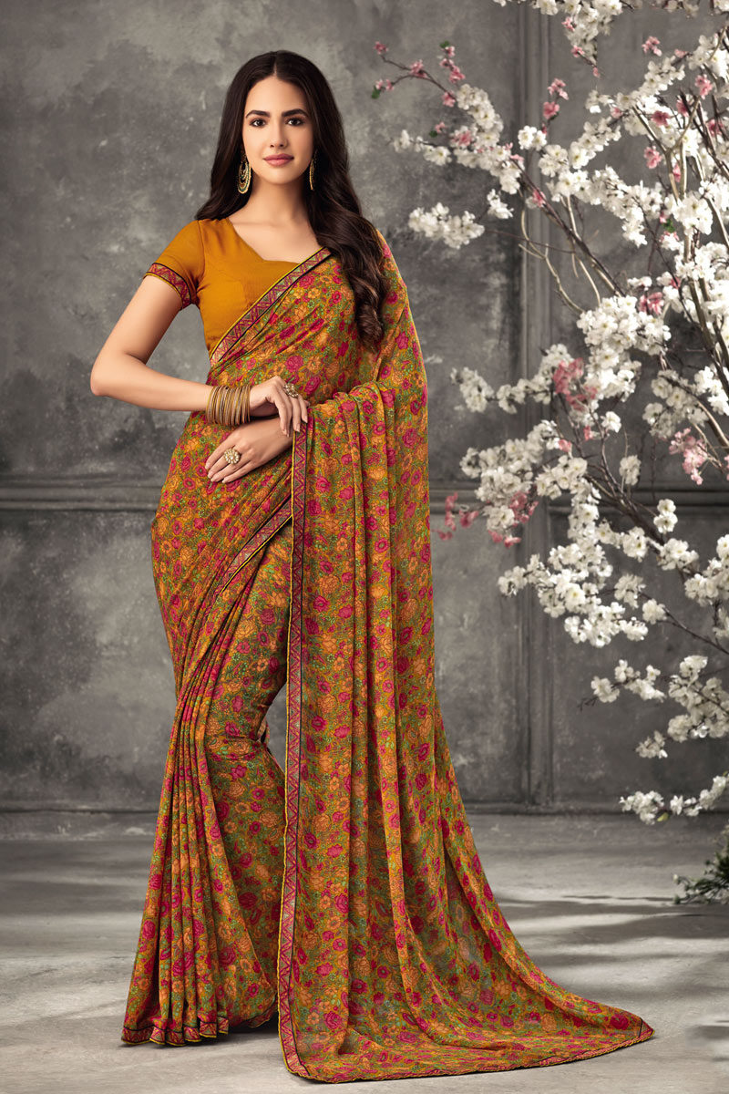 Coffee Color Georgette Fabric Fancy Printed Daily Wear Uniform Saree