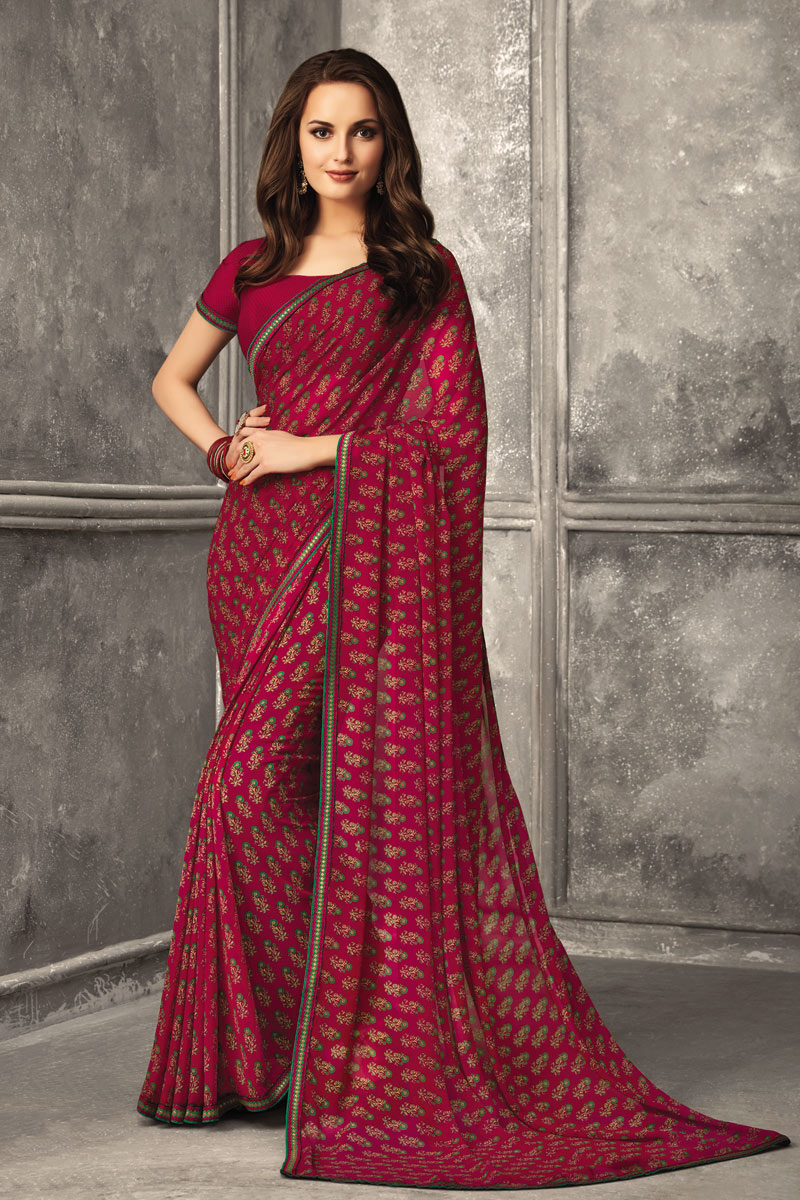 Fancy Georgette Fabric Printed Daily Wear Rani Color Uniform Saree