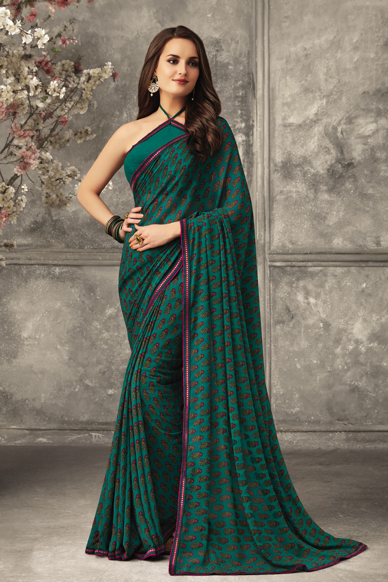 Teal Color Fancy Georgette Fabric Printed Daily Wear Uniform Saree