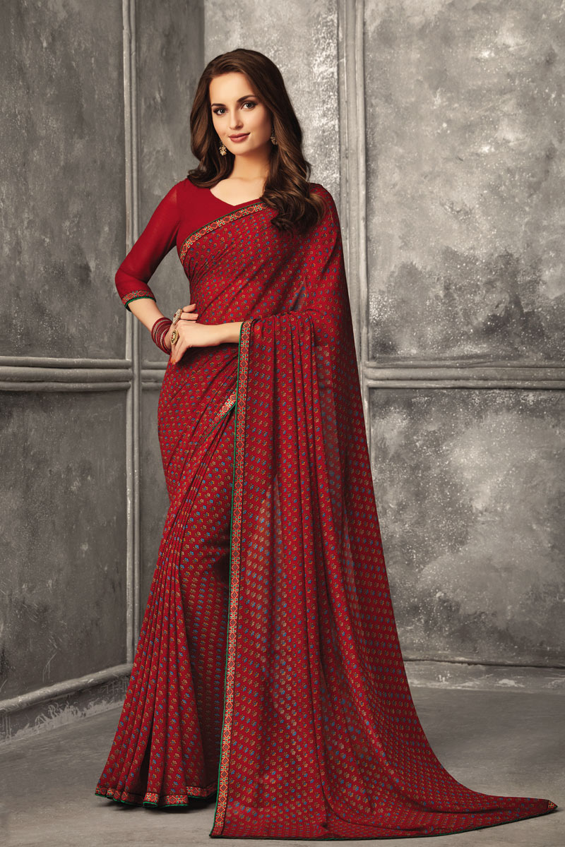 Regular Wear Georgette Fabric Printed Uniform Saree In Red Color