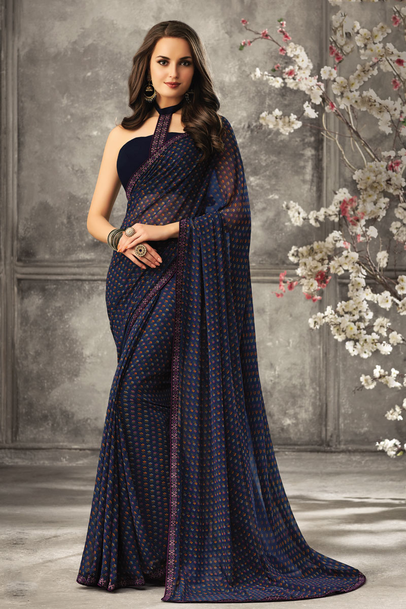 Navy Blue Color Georgette Fabric Regular Wear Fancy Printed Uniform Saree