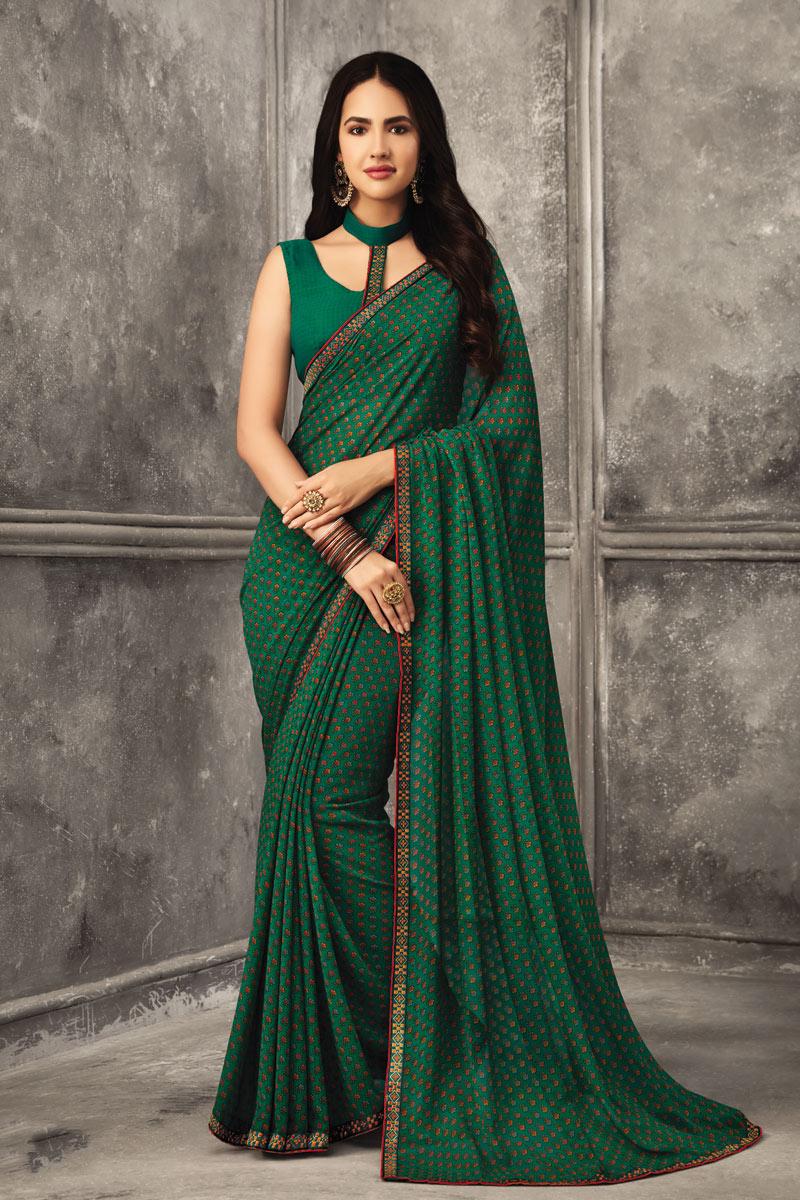 Georgette Fabric Regular Wear Green Color Printed Uniform Saree