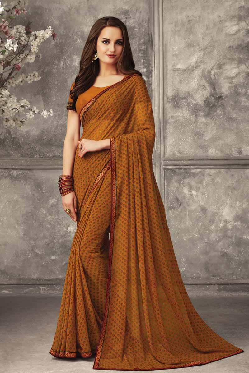 Coffee Color Georgette Fabric Regular Wear Printed Uniform Saree