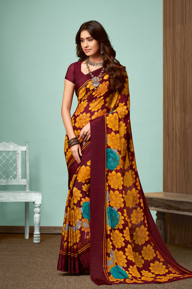 Fancy Mustard Color Chiffon Fabric Daily Wear Printed Saree