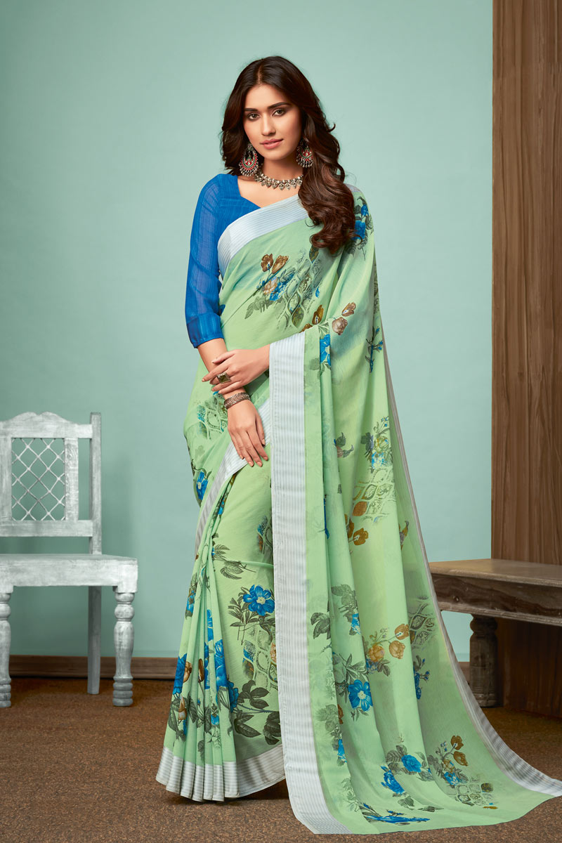 Chiffon Fabric Sea Green Color Fancy Printed Saree With Blouse