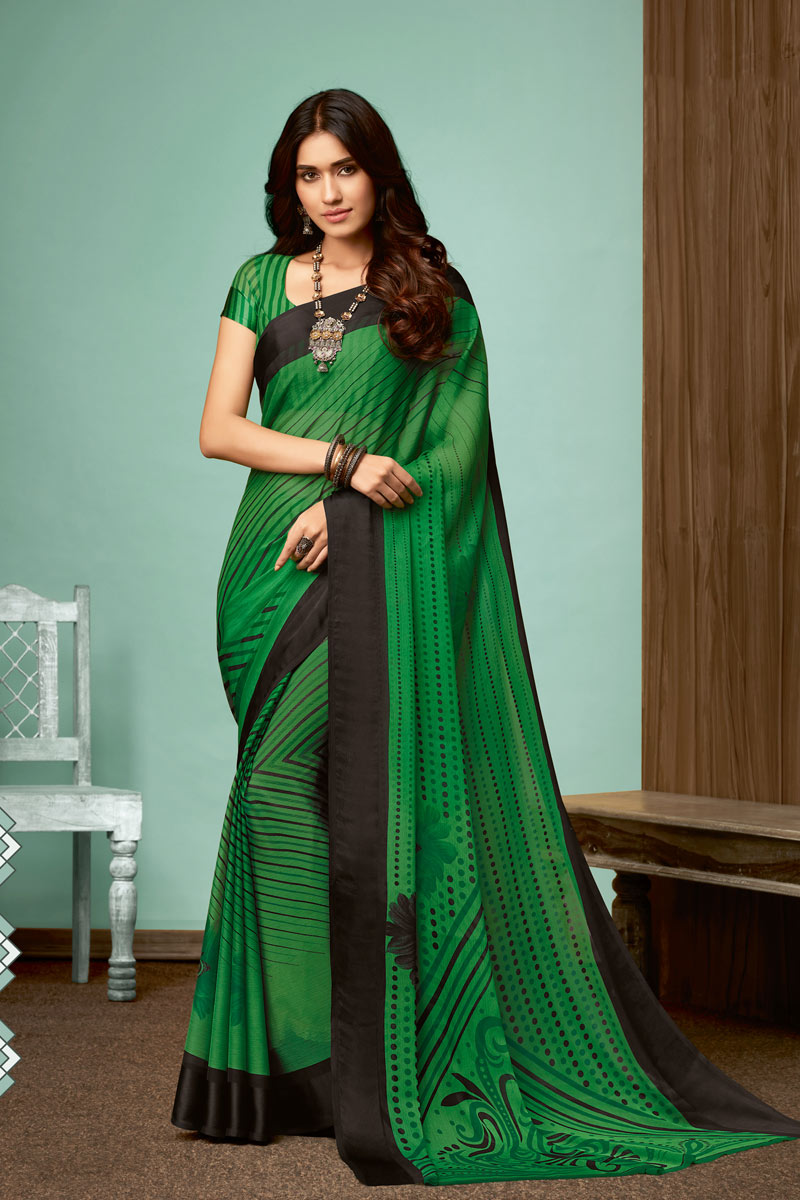 Printed Chiffon Fabric Dark Green Color Office Wear Saree With Blouse