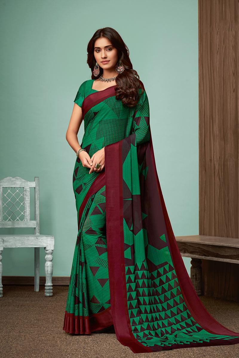 Printed Office Wear Saree In Dark Green Color Chiffon Fabric