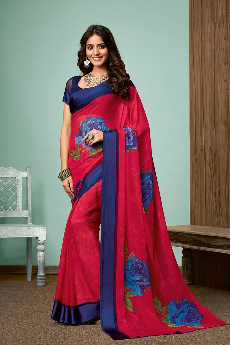 Chiffon Fabric Dark Pink Color Daily Wear Printed Saree