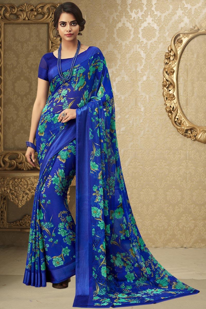 Blue Color Chiffon Fabric Regular Wear Printed Saree