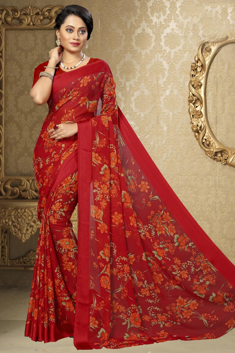 Printed Chiffon Fabric Fancy Saree In Red Color