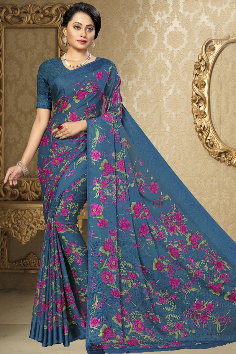 Grey Color Casual Wear Printed Saree In Chiffon Fabric