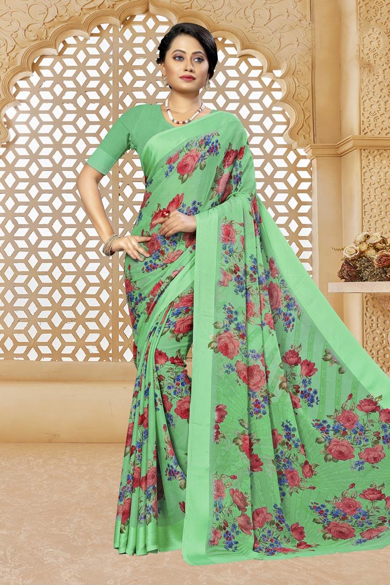 Sea Green Color Puja Wear Printed Saree In Chiffon Fabric