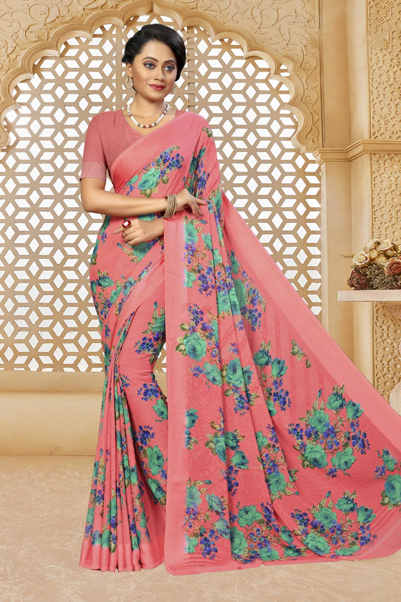 Pink Color Chiffon Fabric Fancy Printed Daily Wear Saree