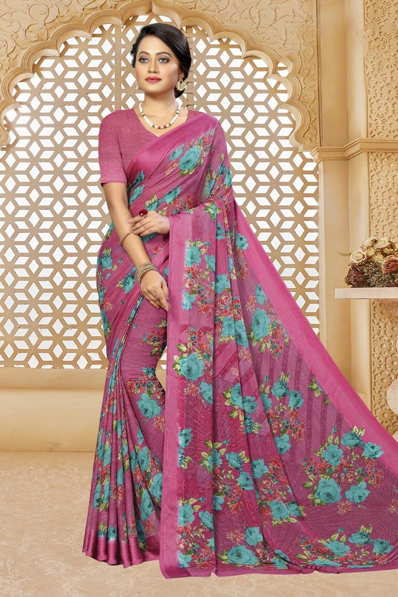 Rani Color Casual Printed Saree In Chiffon Fabric